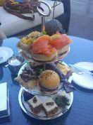 So this is the 3 layers high tea set. My favourites are the mini beef burger and the carrot cake :)